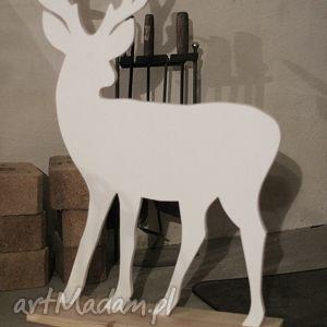 prezent na święta, renifer 76cm, renifer, drewniany, biały, dzieci, dekoracja, ozdoba