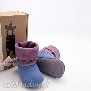 ręcznie robione buciki bambosze z golfem / hand made / niebieski & amarant