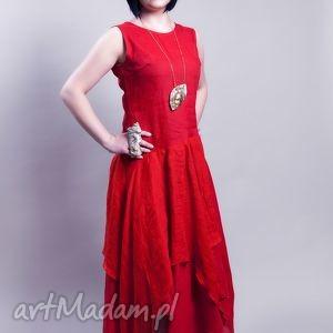 sukienki lniana czerwona sukienka , lniana, sukienka, czerwona, len ubrania