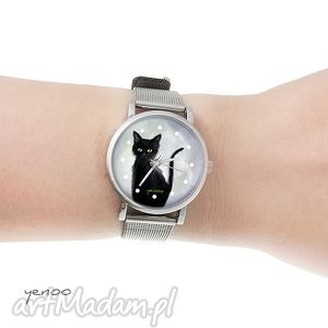 zegarek, bransoletka - czarny kot szary mały, bransoletka, metalowa