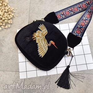 torebka wyszywana haftowana aksamitka, ludowa, haftowana, ptaki