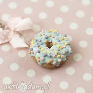 naszyjnik pączek donut, naszyjnik, modelina, pączek, miętowy, słodkości