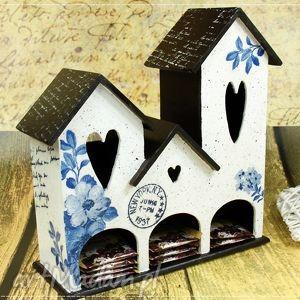 dekoracje domek na herbatę-niebieskie kwiaty, na, herbatę, domek, drewniany