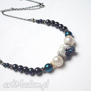 rozgwieżdżone niebo vol 2 - naszyjnik, srebro, pozłacane, kwarc, perły, lapis