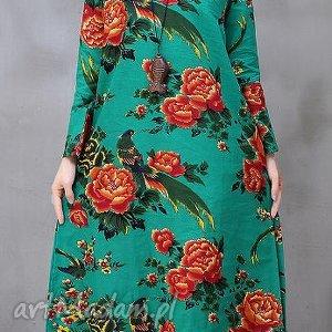 Lniana sukienka w kwiaty , len, bawełna, kwiaty, sukienka, letnia, plaza