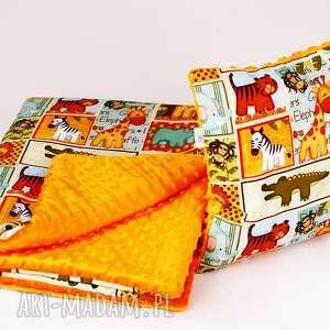 zestaw przedszkolaka kocyk i poduszka safari pomarańcz, kocyk, poduszka