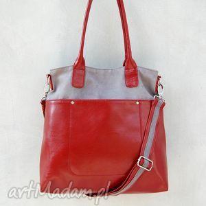 fiella - duża torba czerwień i szarość, shopper, praktyczna, wygodna, miejska