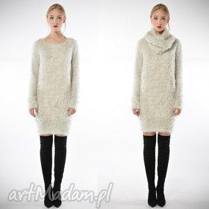 ryszard grey - szary, długi sweter z szalem, dzianina, długi, swetry ubrania