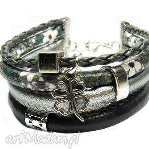 bransoletka grey black, zawieszka charms do wyboru, bransoletka, romantyczna