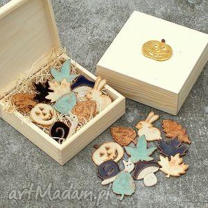 ceramika zestaw magnesów jesień, pudełko, magnesy, kuchnia, prezent