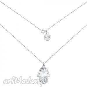 naszyjniki srebrny naszyjnik z kryształową ręką fatimy swarovski crystal, modny