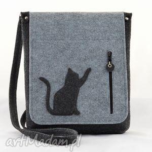 torebka filcowa - duża listonoszka z kotkiem, listonoszka, filc, filcowa, kotek, kot