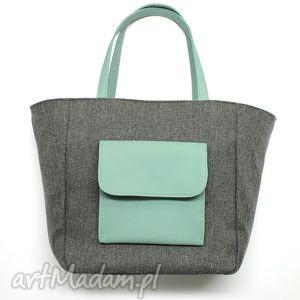 shopper bag worek - tkanina szara i skóra miętowa, handmade, worek, hobo, sack
