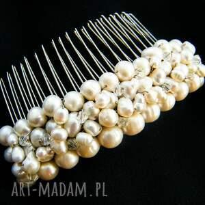 Grzebyk - ozdoba ślubna perły naturalne swarovski, grzebyk, stroik, ślub,