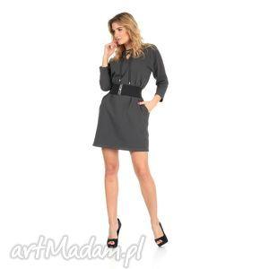 46-sukienka sznurowany dekolt,c szara,rękaw 3 4,pasek , lalu, sukienka, dzianina