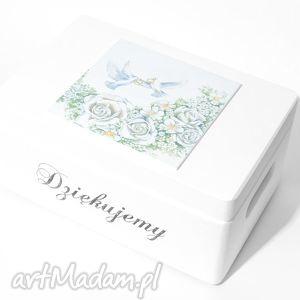 Ślubne pudełko na koperty Kopertówka Uniwersalne Obrączki Napis Dziękujemy