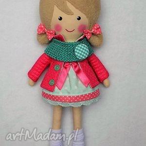 Prezent MALOWANA LALA IGA Z WEŁNIANYM SZALIKIEM, lalka, zabawka, przytulanka, prezent