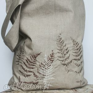 lniana torba z haftem, len, haft, podręczna na ramię