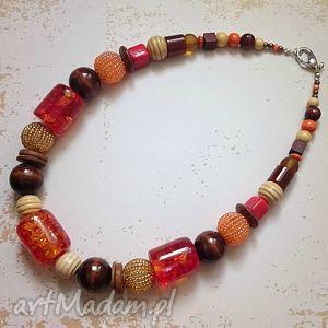 Na jesień, korale, naszyjnik, złoto, drewno