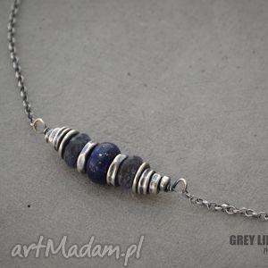 lapis lazuli i iolit naszyjnik - lapis, lazuli, iolit, krótki, surowy