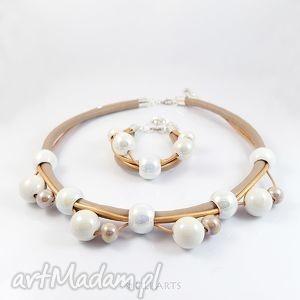 liliarts komplet - beżowo biały naszyjnik, bransoletka, ceramiczne