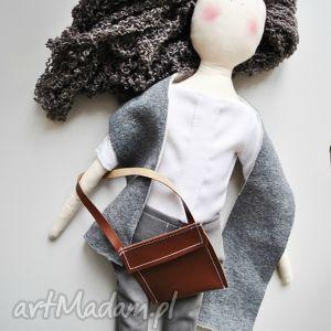 lalki pani lala, lalka, elegancka, torebką, szary, prezent, handmade dla dziecka