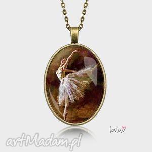 święta prezent, naszyjniki medalion owalny balerina, taniec, kobieta, obraz