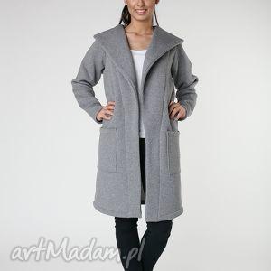płaszcze płaszcz z ciepłym kołnierzem szarys-m 36 38, płaszcz, szary, oversize, długi