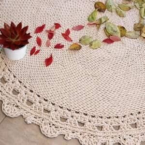 dywany dywan okrągły ze sznurka round braid ecru dostępny od ręki, pleciony