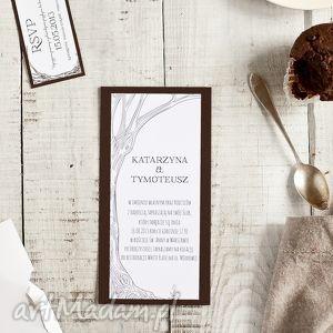 Zaproszenie DRZEWO 100x210mm DL, ślub, drzewo, eko, zaproszenie, zaproszenia