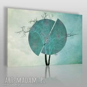 Obraz na płótnie - DRZEWO TURKUS 120x80 cm (41101), drzewo, okrąg, koło, abstrakcja