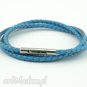 abbozzo blue leather, bransoletka, męska, skóra, naturalna, stal, szlachetna
