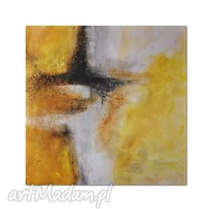 spilled lemonade, abstrakcja, nowoczesny obraz ręcznie malowany, obraz