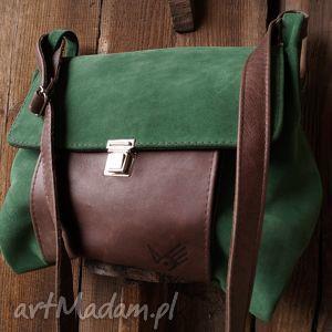 torba włóczykija a4 zieleń brąz, zamsz, skóra, zieleń, unisex na ramię