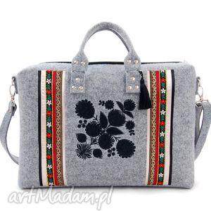 torba na laptopa filcowa 126, ludowa, etno, haftowana torebki
