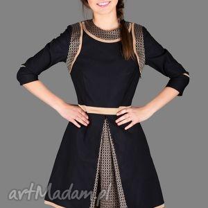 wyjątkowy prezent, sukienki sukienka black gold dress, sukienka, rozkloszowana