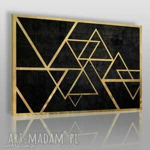 obrazy obraz na płótnie - trójkąty złoto 120x80 cm 34601 , trójkąty, geometryczny