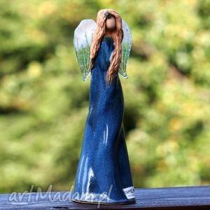 anioł ceramika i szkło niebieski, anioł, aniołek, fusing, skrzydła, postać, figura
