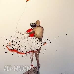 Grafika, rysunek akwarela i piórko Para , grafika, rysunek, para, balon, miłość