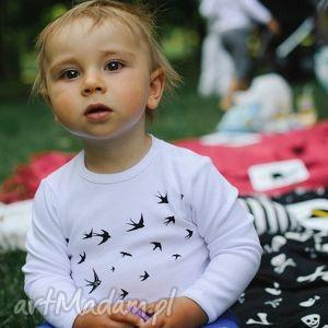 body dla dzieci i niemowląt z długim rękawem - ptaki, jaskółki, body, śpioszki