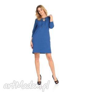 46-sukienka sznurowany dekolt,c niebieska,rękaw 3 4, lalu, sukienka, dzianina