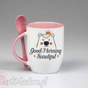 kubki kubek z łyżeczką good morning, ceramika, kubek, z, łyżeczką, personalizacja