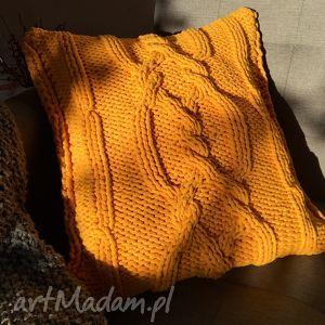 poduszka dziergana plecionka warkoczowa, poduszka, vintage, recznierobione, handmade