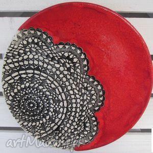 święta prezent, czerwień z koronką, ceramiczny, talerz, patera, ceramiczna, czerwona