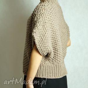 brązowy, sweter, bolerko, gruby, druty, święta prezent