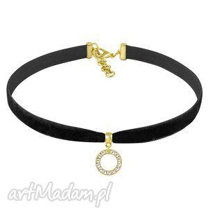choker - swarovski circle velvet , choker, swarovski, aksamitka, biżuteria