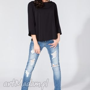 bluzka koszulowa z kopertowym tyłem t136 czarny - bluzka, koszula, szyfon, letnia