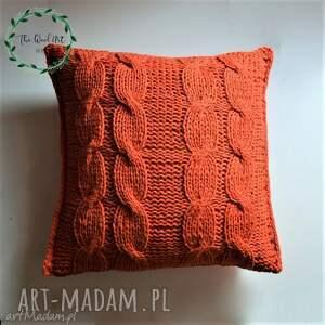 poduszki dziergana poszewka, poduszka, pomarańczowa, wełniana, dom, prezent
