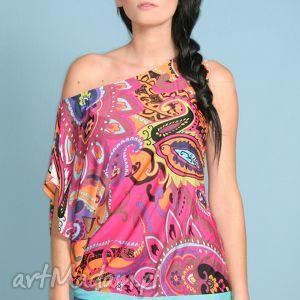 bluzki asymetryczna tunika z wzorzystej tkaniny, wzorzysta, neony
