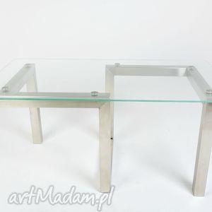 stolik fira - stal nierdzewna i szkło, designerski, minimalistyczny, do loftu